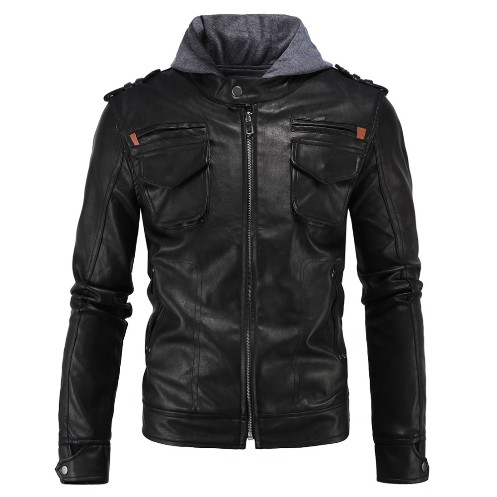 New fashion pu leather jacket hooded slim fit motorcycle pu suede jacket L-4XL AYG147