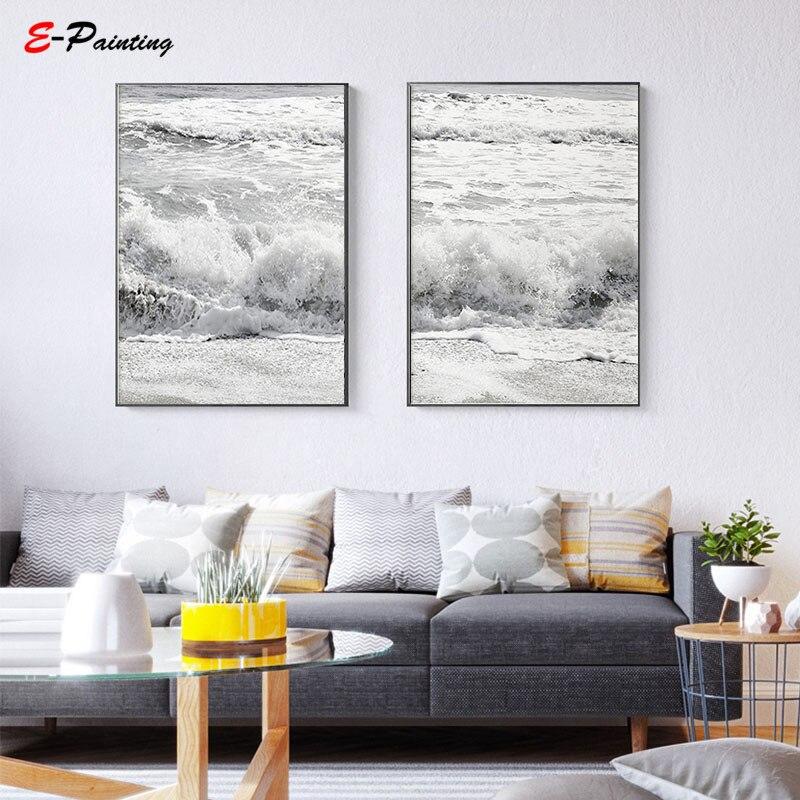 Modern Canvas Wall Art Ocean Waves