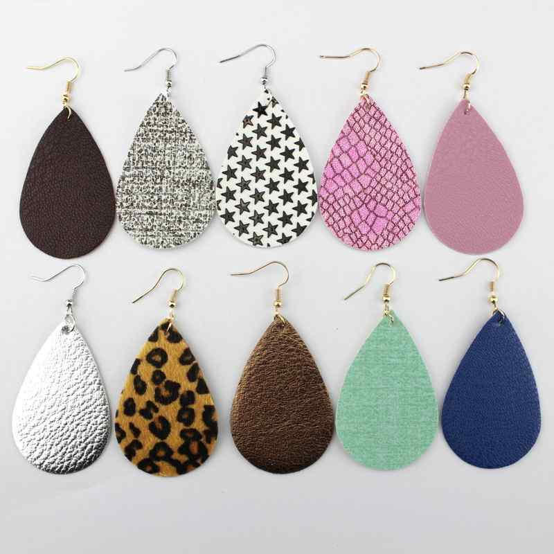 2018 New Classic Leather Earrings Leopard Statement Earrings PU Leather Teardrop Earrings Jewelry Fashion Big Earrings Wholesale