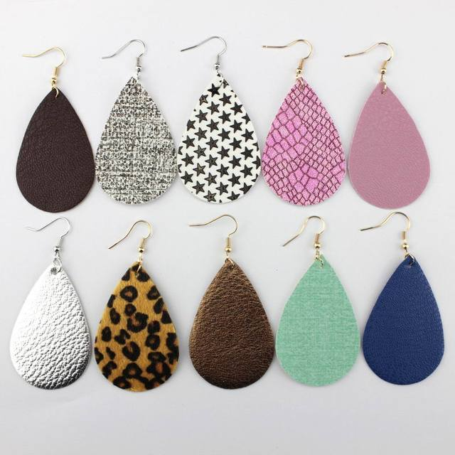 008391425b450c 2018 New Classic Leather Earrings Leopard Statement Earrings PU Leather  Teardrop Earrings Jewelry Fashion Big Earrings Wholesale