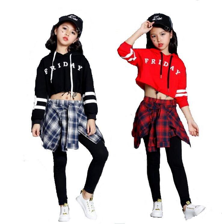 Teens Girls Two Piece Set Long Sleeve Children Crop Tops And Plaid Skirt Pant Kids Hip Hop Dance Clothes Girls Children Spring ...