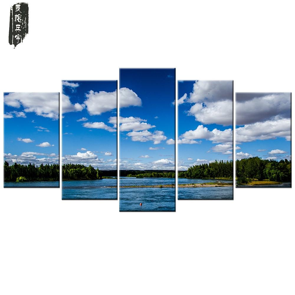 5 unids/set skylandscape lienzo pintura moderna pared arte adorno ...