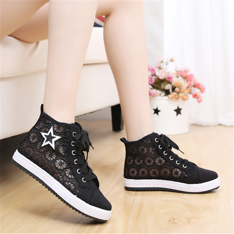 ФОТО NEW Summer women's breathable canvas shoes female high quality casual high-top shoes lacing gauze single flats footwear for lady