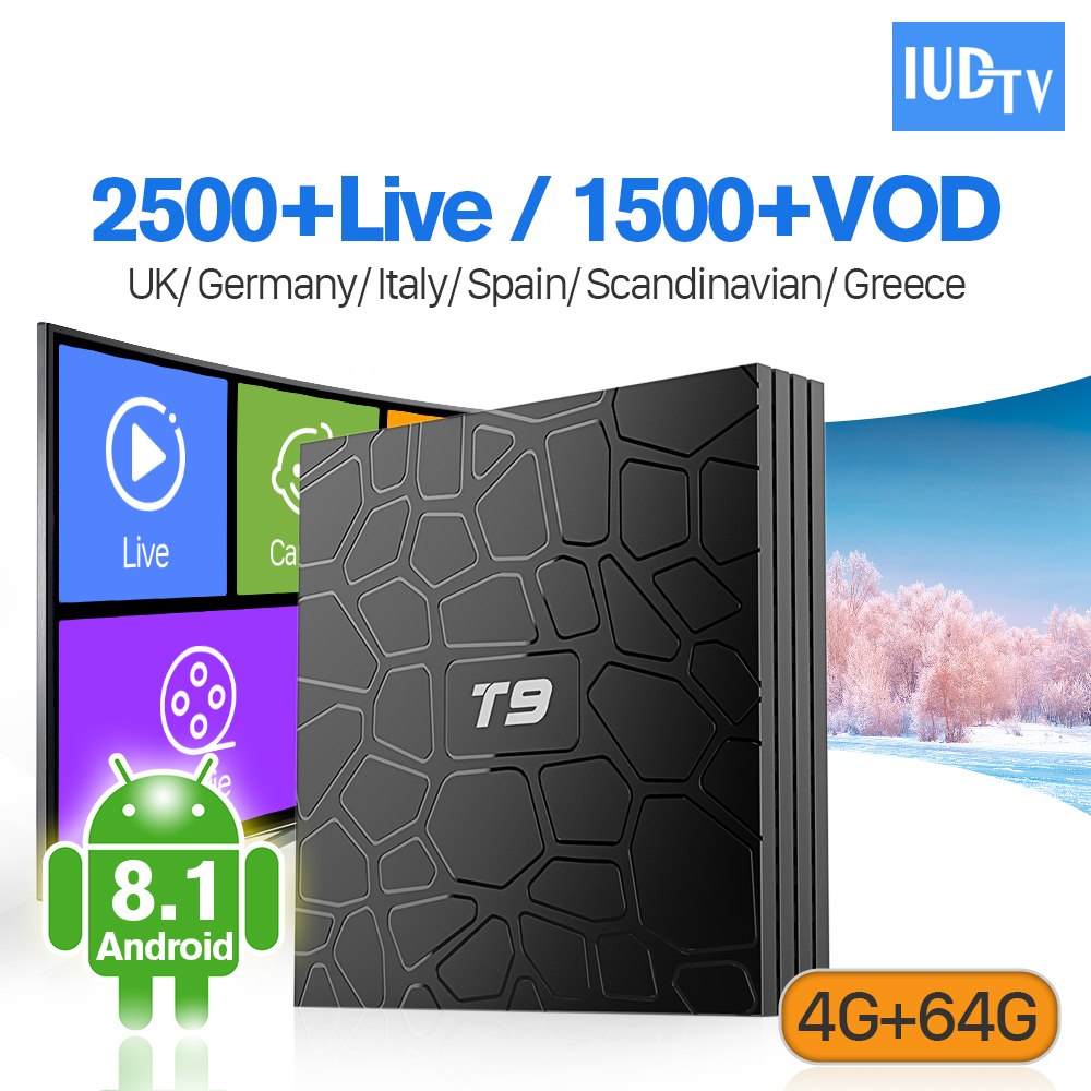 Europe IPTV 1 an IUDTV T9 RK3328 Android 8.1 prise en charge BT 4G 64G WiFi double bande IPTV allemagne italie royaume-uni espagne Box IP TV 4K