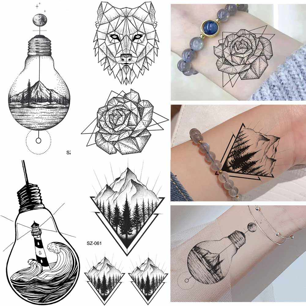 Erogenous Geometric Wolf Temporary Tattoo Geometric Floral Women Body Arm Wrist Tattoo Stickers Men Bulb Water Transfer Tatoos