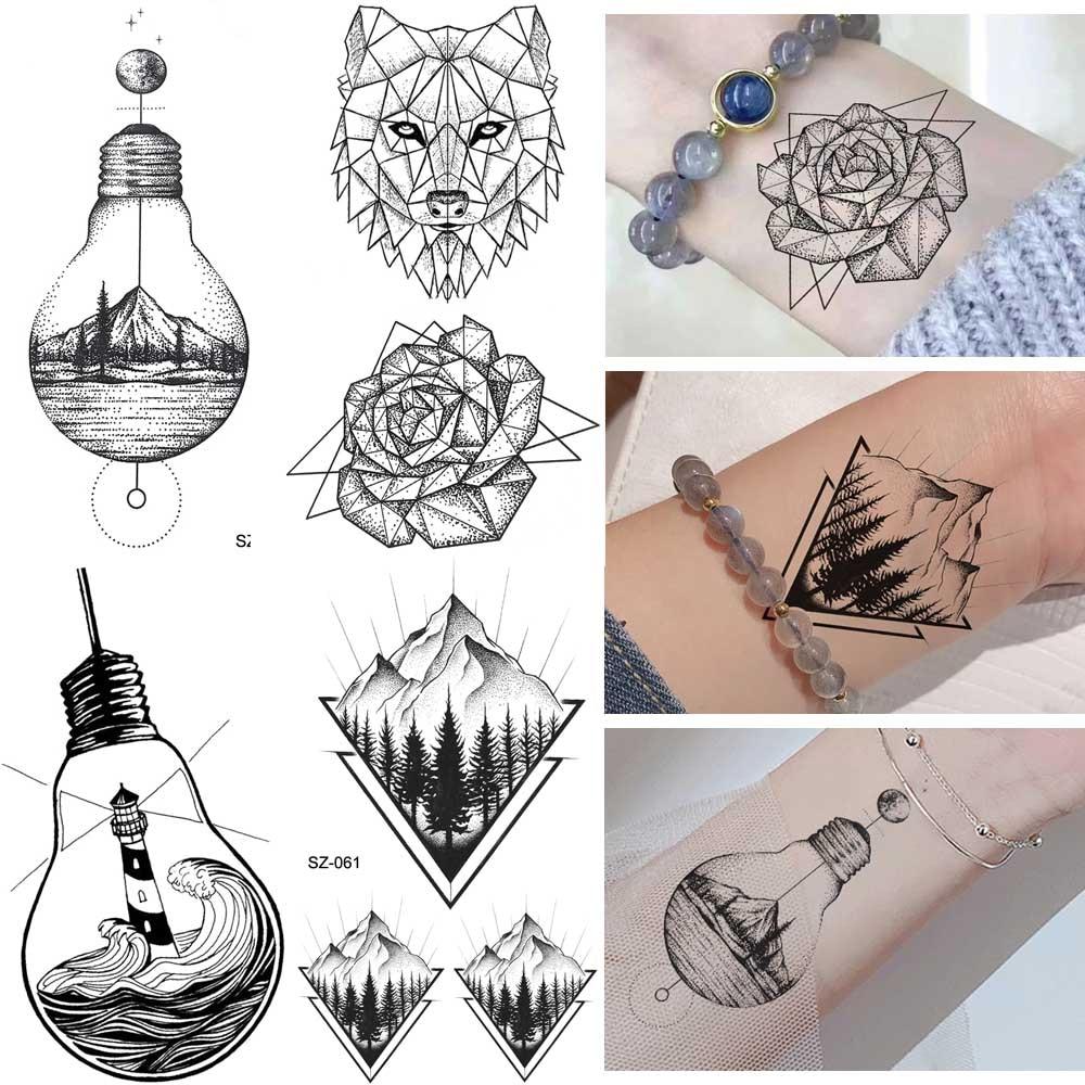 Erogenous Geometric Wolf Temporary Tattoo Geometric Floral Women Body Arm Wrist Tattoo Stickers Men Bulb Water Transfer Tatoos
