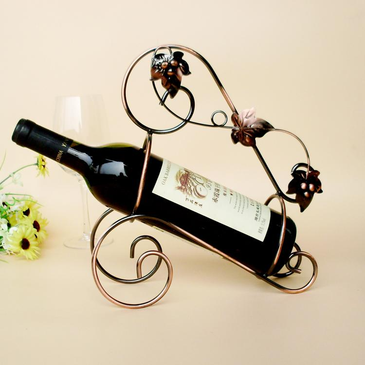 Tyjj 006 Metal Red Wine Rack Shelf Wine Holder Bronze Grape Leaf