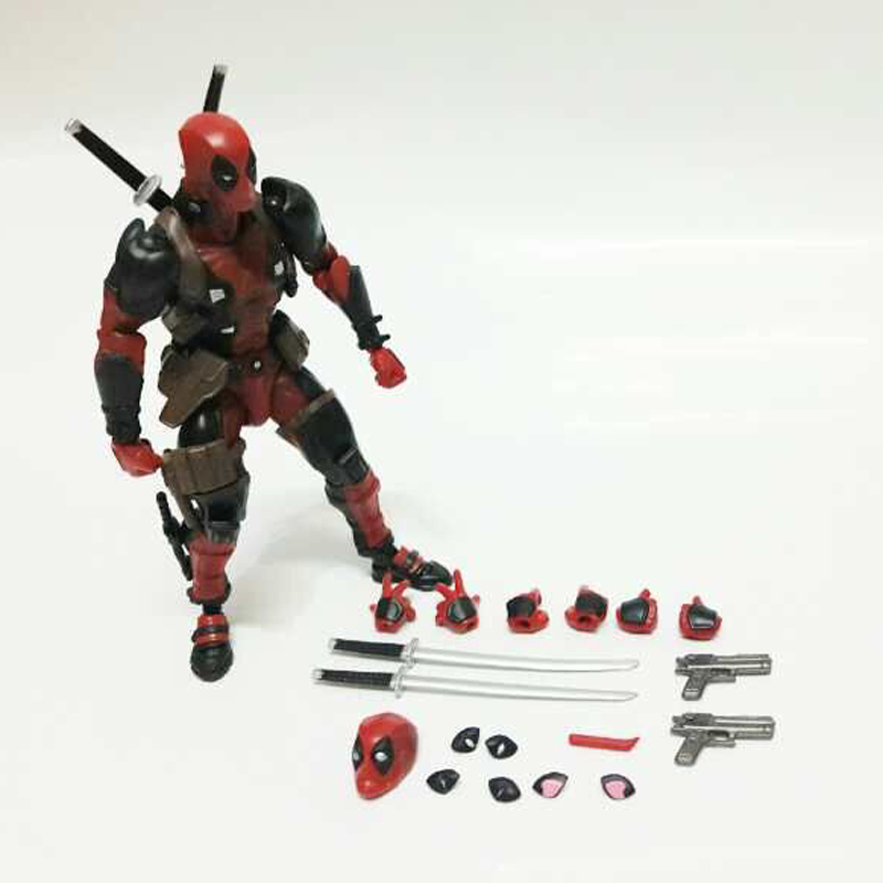 Series NO.001 Revoltech Deadpool Venom No.003 Spider ManNo.002 004 Iron Man With Bracket PVC Action Figure Collectible Model Toy купить