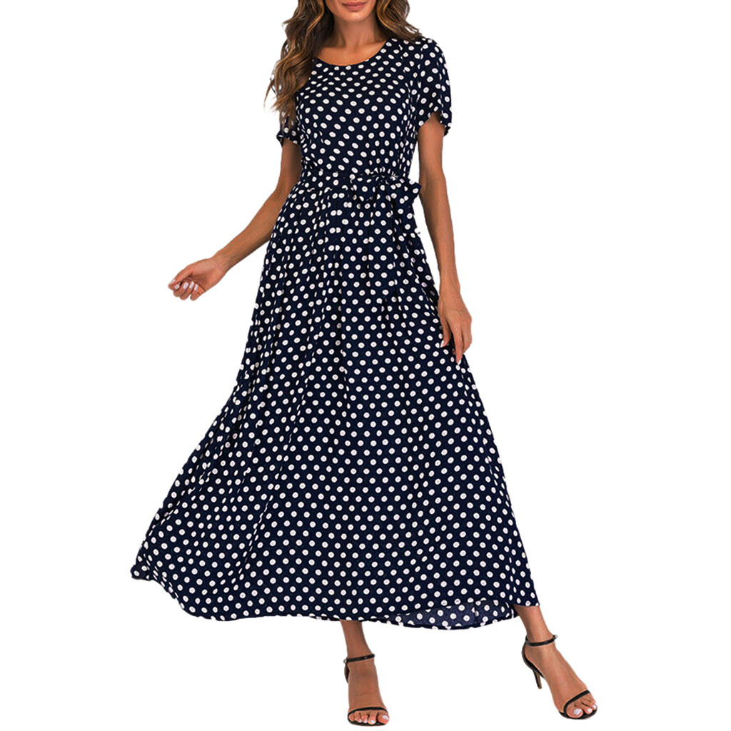 HTB1EQiUaAWE3KVjSZSyq6xocXXay - Summer Dress Women O-Neck Short Sleeve Boho Polka Dot Bandage Maxi Long Dress Women Beach Sundress Plus Size Vestidos