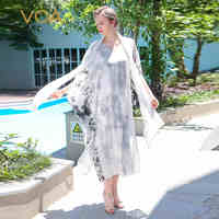 VOA 2017 Summer Chinese Style Vintage Loose Casual Silk White Print Long Dress Elegant Plus Size