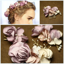 Dower me Handmade Lilac Flower Bridal Hair Comb Clip Set Pearl Jewelry Wedding Accessories Headpiece