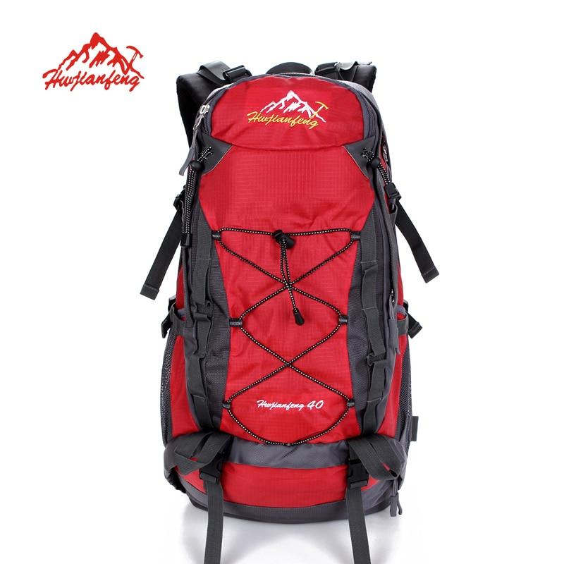 ФОТО HUWAIJIANFENG 40L outdoor sports hiking camping backpack large capacity waterproof travel professional canvas rucksack