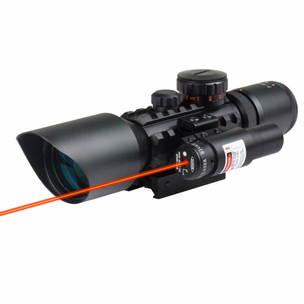 VERY100 NEW Tactical Reflex 3-10x 40 Red / Green Dot Reticle Sight Rifle Scope & Red Laser For 20mm Rail Mount very100 new tactical reflex 3 10x 40 red green dot reticle sight rifle scope