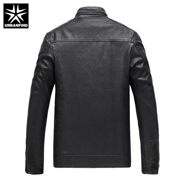 URBANFIND Autumn Winter Men PU Leather Jacket Plus Size L-6XL Mens Casual Fur Jackets Solid Clothes Fashion Motorcycle Outerwear