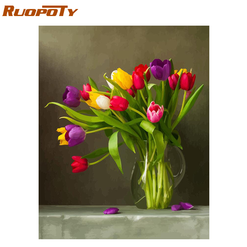 RUOPOTY Frame Diy Painting By Numbers Tulip Flowers Kit Acrylic Paint By Numbers Canvas Painting For Home Decoration Unique Gift