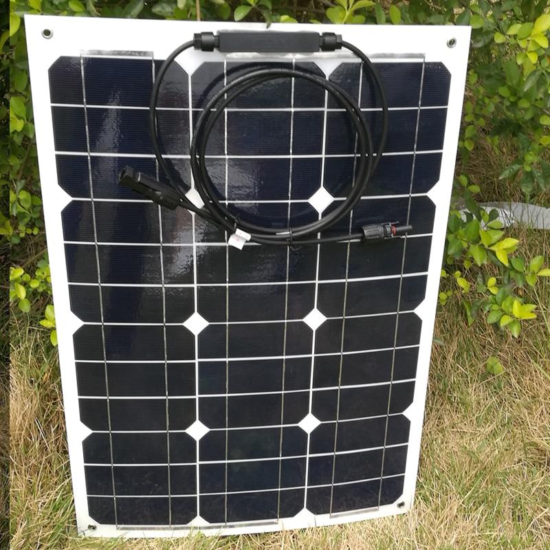 Painel Solar Flexível portátil 12v 35w Carregador de Bateria Solar À Prova D' Água Barco Peixe MC4 Conector Carro de Acampamento Caravana Motorhome RV