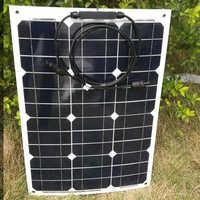 Panel Solar Flexible portátil 12v 35w cargador de batería Solar a prueba de agua barco pez MC4 conector coche caravana campamento motos RV