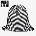 2016 Fashion military backpack women Striped 3D Printing backpacks drawstring bag mochila feminina school bags for teenagers