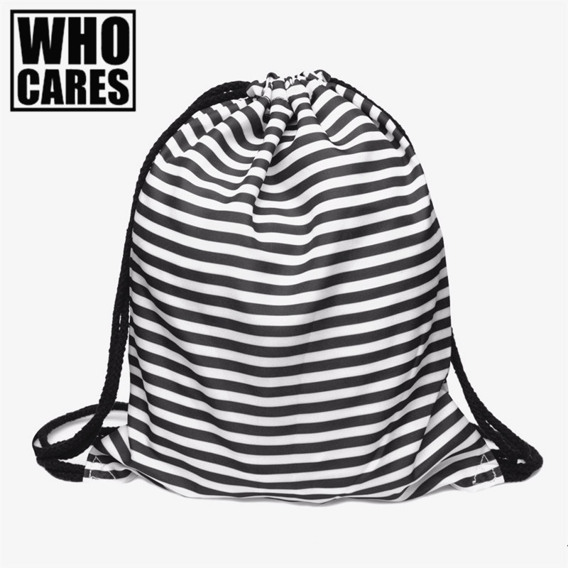 2017 Fashion military backpack women Striped 3D Printing backpacks drawstring bag mochila feminina school bags for teenagers