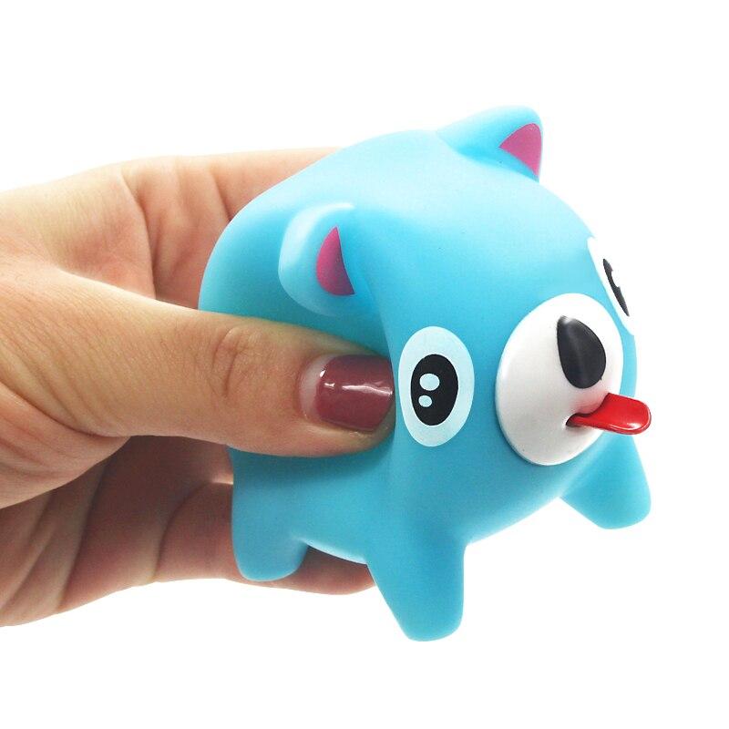 Língua de pitada brinquedo engraçado spoof urso porco brinquedo bonito engraçado som brinquedo gritando animal boneca respiradouro criança banho brinquedo macaron cor