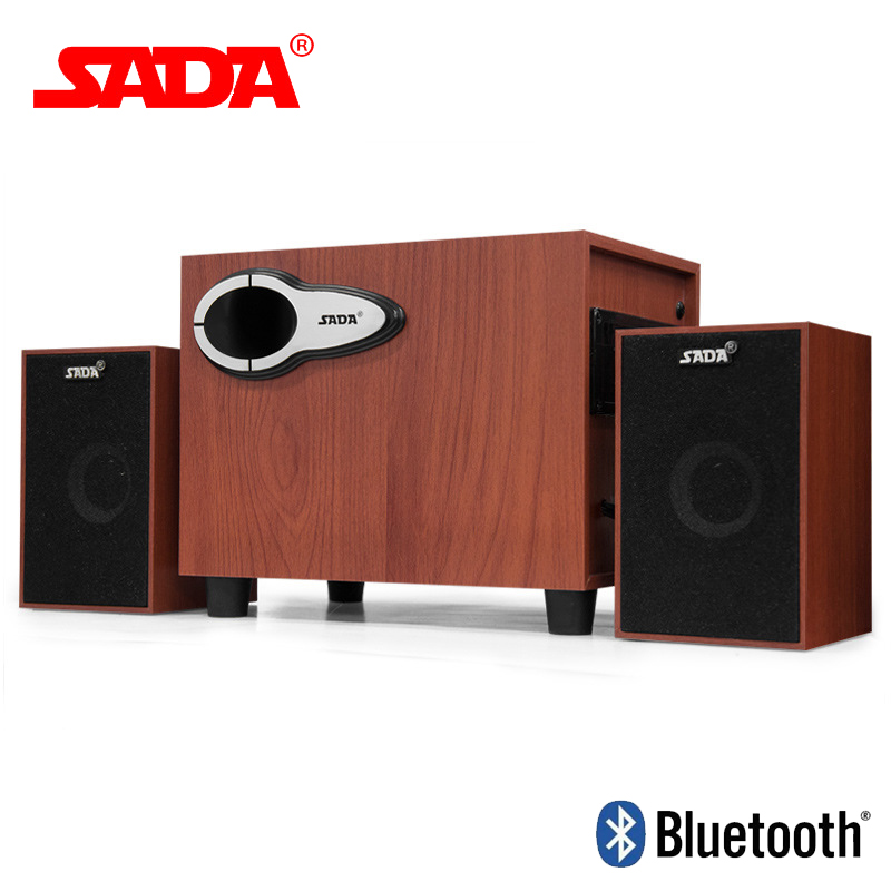 SADA D-222 Wooden Subwoofer 3D Surround Stereo Bass PC USB Bluetooth Wireless Speaker Computer Speakers Support TF Card U Disk