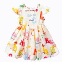 BRWCF Girls Summer Dress Cartoon Letter Print Children S Casual Wear Kids Party Dress Baby Girl