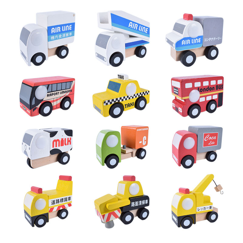 12 Pieces Wooden Car Kit Cute Wood Baby Toy Gift Box And Cartoon Packing Toy Wooden Traffic Toys Kit 12pcs Wood Plane Kit