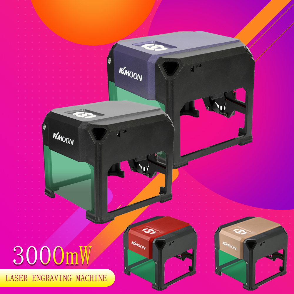 KKmoon 3000MW DIY Automatic Desktop Laser Engraving Machine Logo Mark Printer Carving Machines with USB Cable
