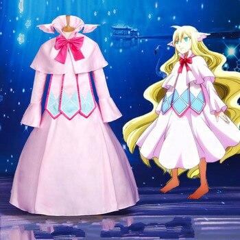 Anime Fairy Tail Cosplay Kostum Pertama Guild Master Mavis Vermilion Cosplay Gaun untuk Gadis Gaun Merah Muda Pakaian dengan Wig