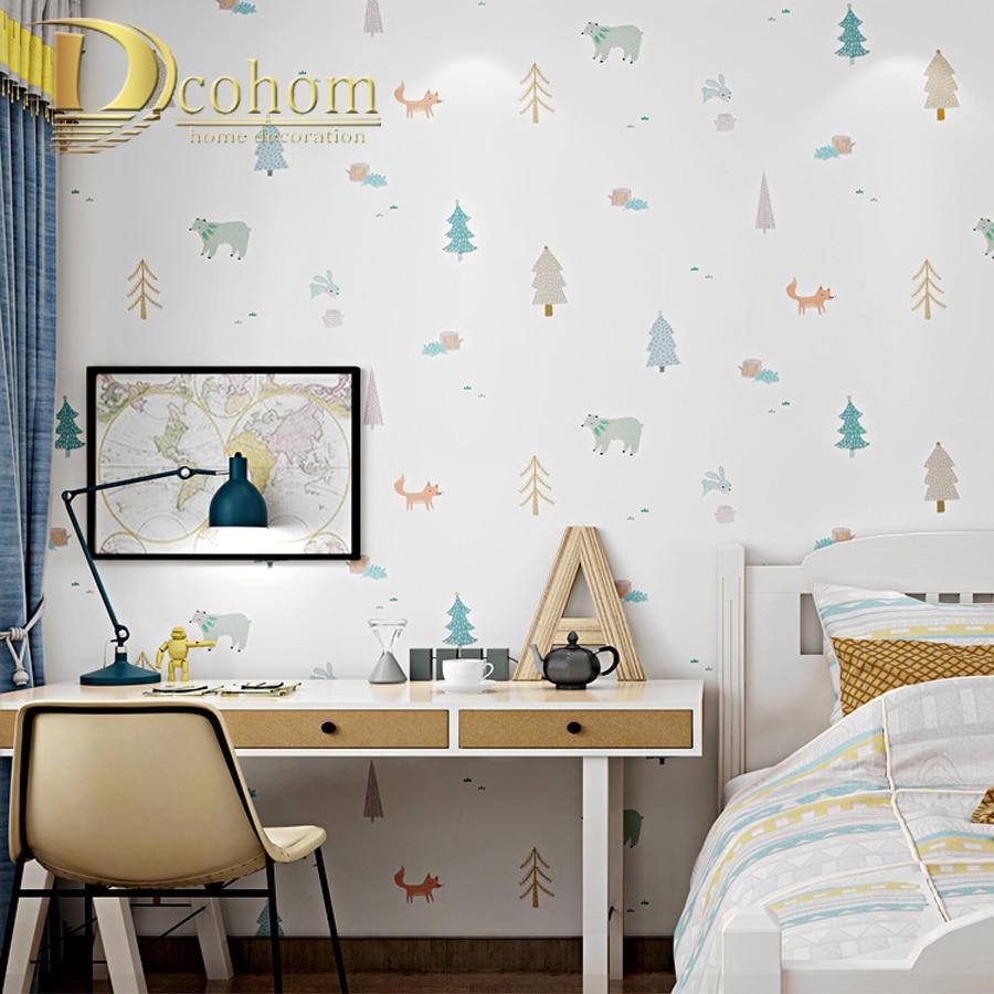 Boom Behang Babykamer.Wit Cartoon Boom Animal Kids Jongen Slaapkamer Behang Roll Voor