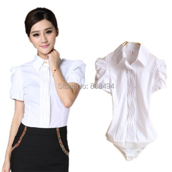 Womens white blouse short sleeve breeze clothing for Womens white button down shirt
