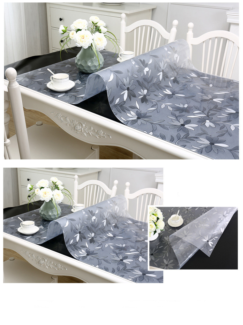 PVC Table carpet Transparent D' Waterproof Tablecloth Oil Tablecloth with Kitchen Pattern Glass Soft Cloth table cover 1.0 mm