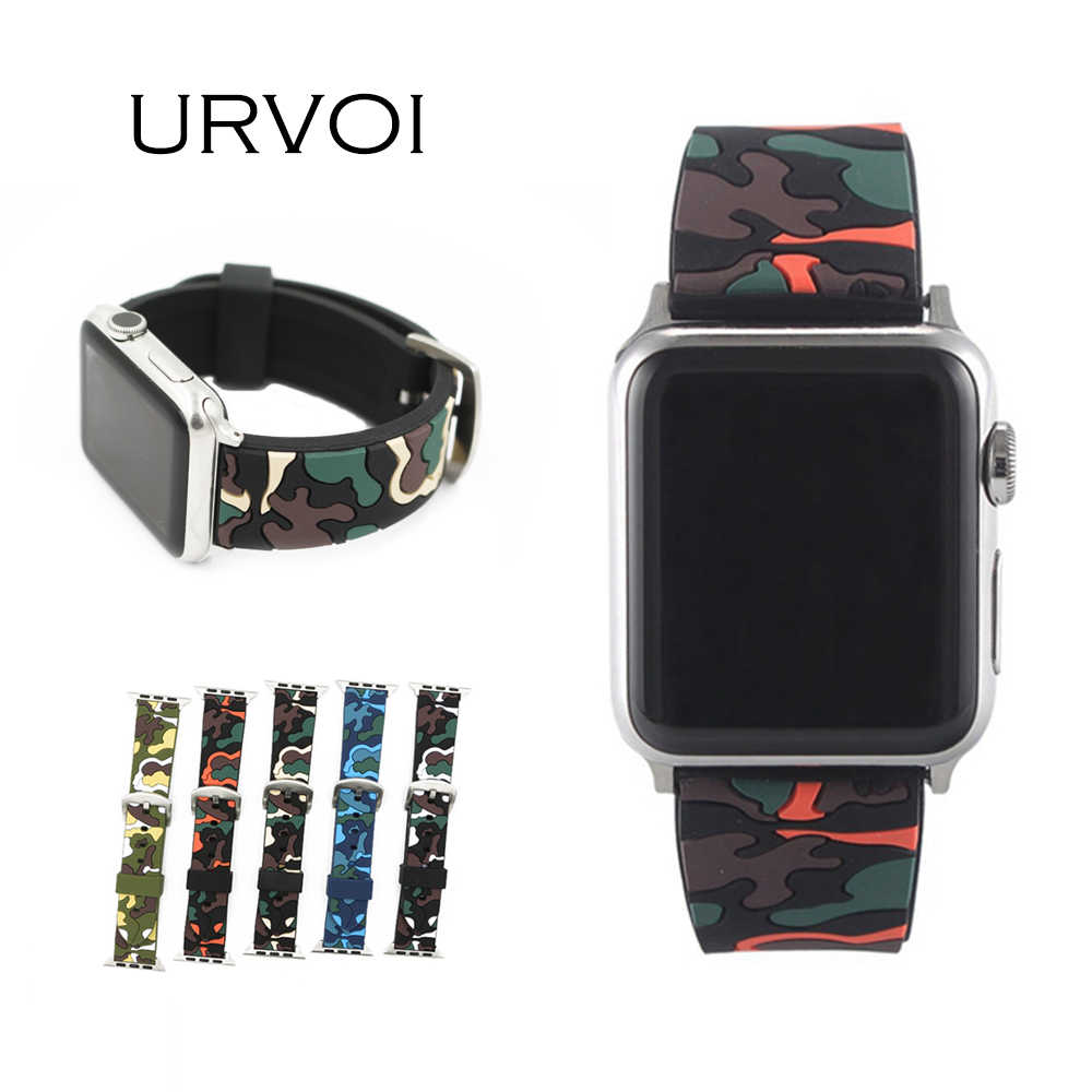 URVOI sport band for apple watch series 4 3 2 1 strap for iWatch CAMO color Soft Silicone Replacement camouflage band adapter