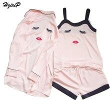 HziriP Gown Silk Satin Nightgown 3 Pairs Sets Women Sleeping Night Embroidery Sleepwear Chemise De Nuit Kimono Robe Nighties