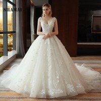 37e368a7c Sexy Cut Out Lace Embroidery Luxury Big Royal Train Wedding Dress V Neck  Elegant Appliques Flowers