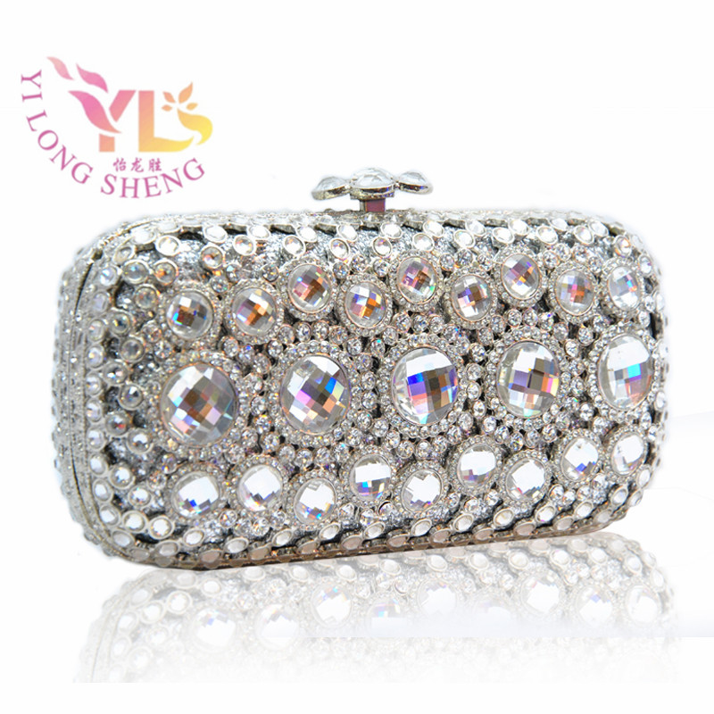 Female Clutch Bag Ladies Silver Luxury Crystal Evening Bags Clutches Wedding Purse Party Dinner Clutches Silver Beaded YLS-G12