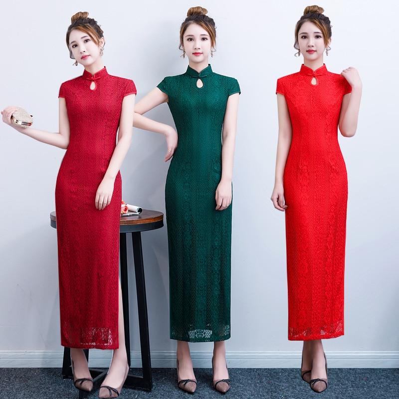 M Vestito verde rosso Primavera Merletto Lungo Delle Nuova Qipao Sexy Tradizionale Fiore Burgundy Cinese Signora Cheongsam Sottile Mandarino xxxl Stampa Donne Collare Elegante Del Della SYwqS4Rg