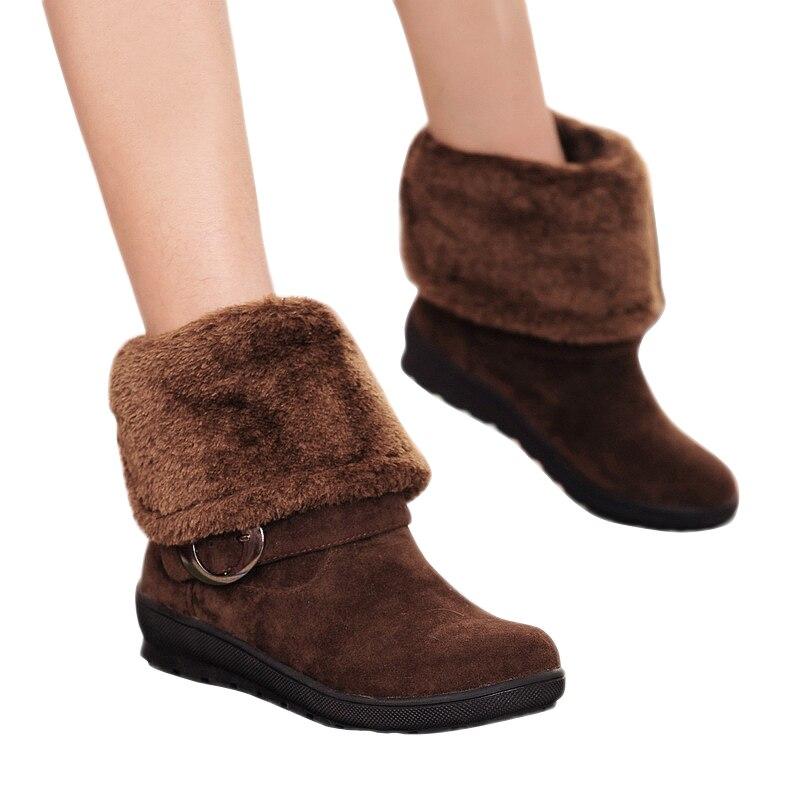 ФОТО 2015 Winter Women Boots PU Leather Women Shoes Women Mid-Calf Snow Boots Fashion Flat Soft Warm Ladies Winter Shoes BT52