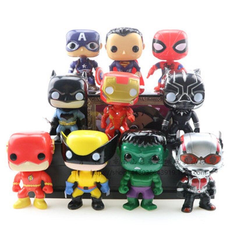 DC Justice League Character 10cm Super Hero Wolverine Superman Batman Aquaman Flash Vinyl Action Figure Toys