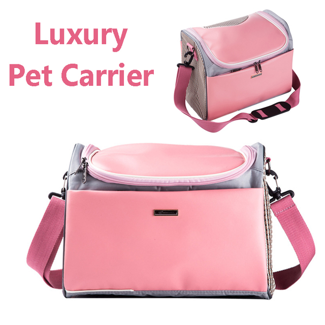 fabfd0eac6 Pink pu leather Pet cat small dog Travel luxury Carrier bag outdoor  Portable dog carry tote bag pet transport air carrier box