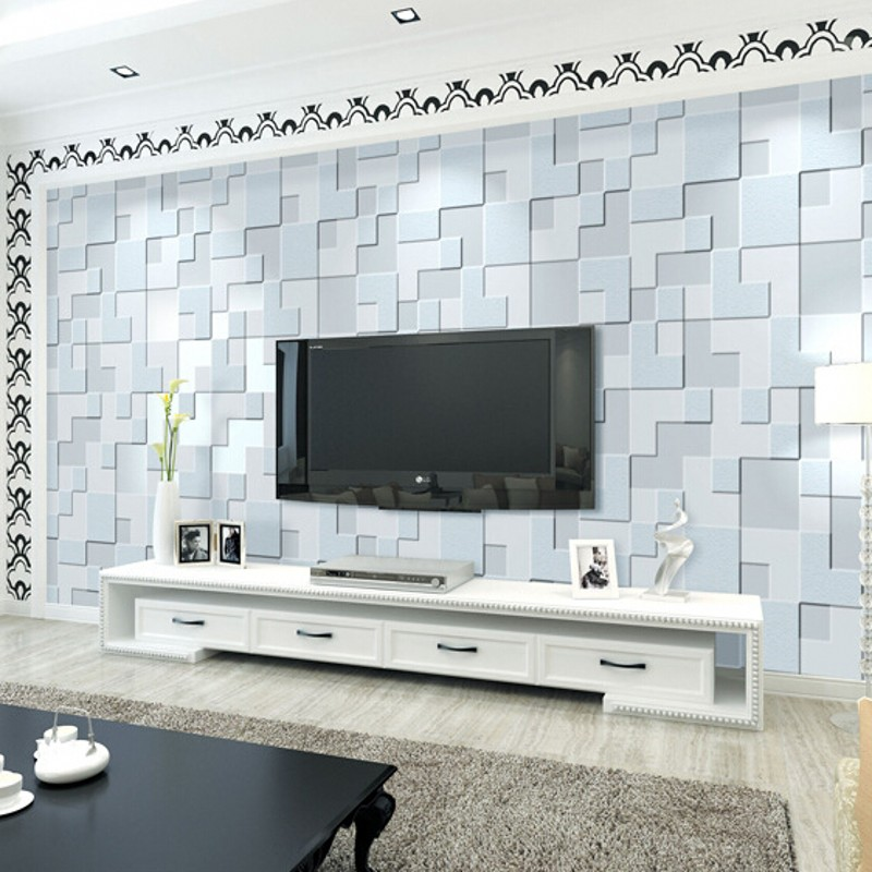 ФОТО Modern and simple Beibehang wall paper embossed 3D stereoscopic bedroom living room sofa TV background wallpaper mosaic
