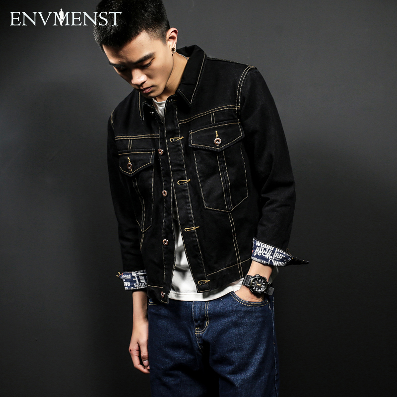 2017 New Style Men's denim outerwear men's short denim jacket fashion jeans autumn spring denim jackets thin coat classic black
