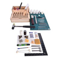 fityle 1 Set Leather Craft Sewing Punching Stamping Tools Stitching Carving Kits