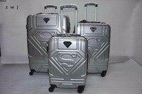 Классные! Супермен багаж герой шаблон тележка 4 колеса путешествия прокатки багаж пансион чемодан для унисекс