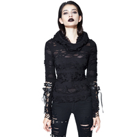 2018 New Arrival Devil Fashion Punk T shirt Women Hollow Out Hooded Black t shirts Cool Belt Sleeves Steampunk T shirts