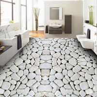 Bedroom Living Room Bathroom Waterproof PVC Self Adhesive Vinyl Flooring Wallpaper Stickers White Pebbles Photo 3d