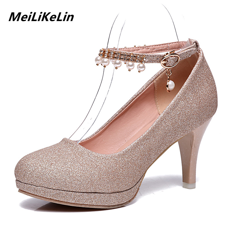 MeiLiKeLin 2018 Fashion Party Wedding Dress Evening Shoes Women Platform High Heels Shine Sequined Cloth Womens Pumps Red Gold