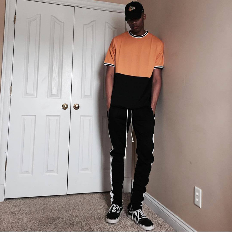 HTB1EQkWaErrK1RkSne1q6ArVVXa5 2019 Mens Zipper Pocket Anke Zip Track Pants Long Dawstring Sweatpants Side Striped Patchwork Casual Retro Trousers Man Pants