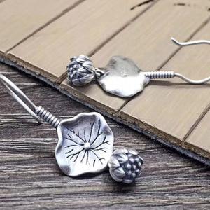 Image 4 - BALMORA gerçek 925 ayar gümüş Lotus çiçek bırak Dangle küpe kadınlar için anne hediye Vintage zarif moda takı