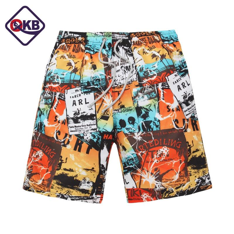QIKERBONG Men's Beach Shorts Board Boxer Trunks Shorts Swimwear Swimsuits Quick Drying New Fashion Plus Size Short Bottoms